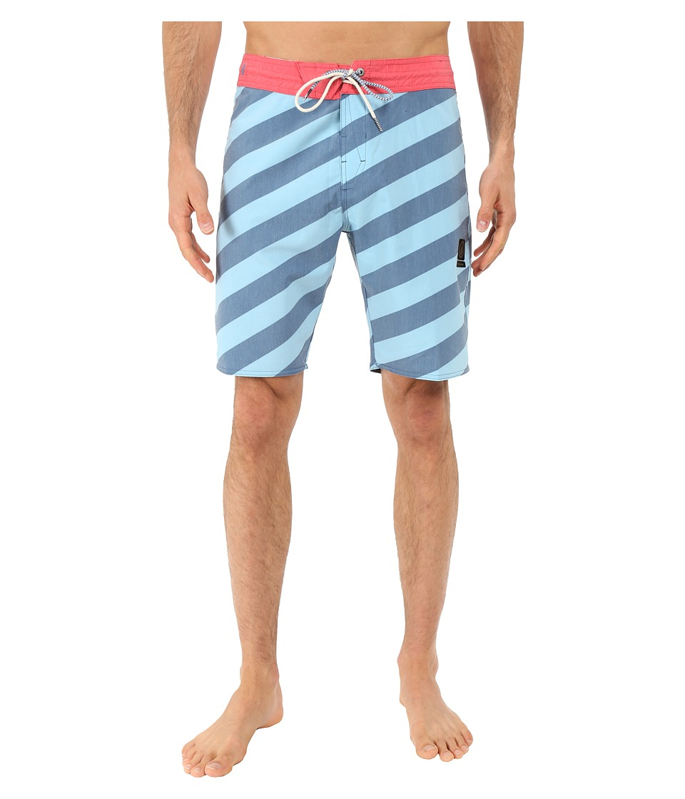 Volcom - Stripey Slinger 19 Boardshorts (Smokey Blue) Men's Swimwear
