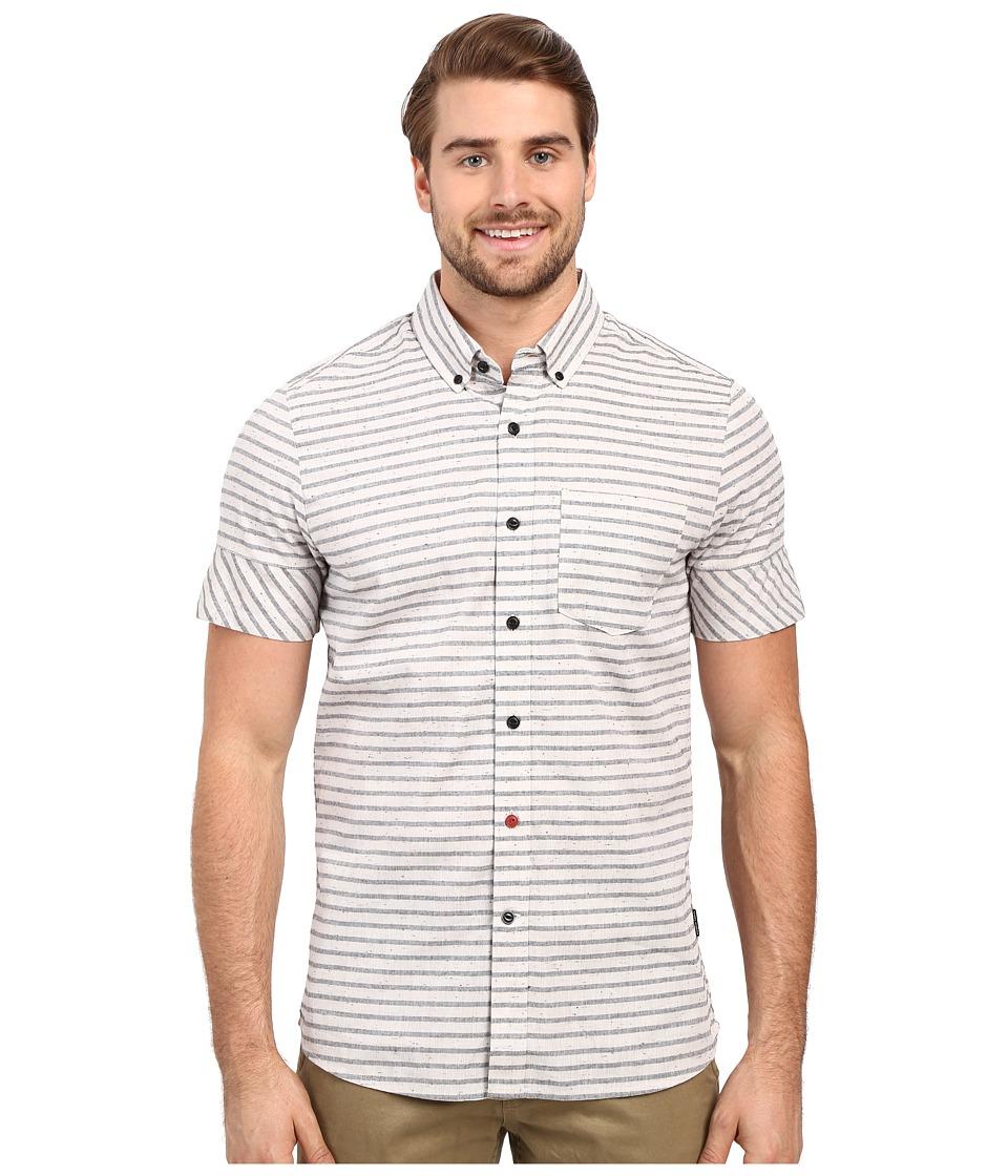 Volcom - Melvin Stripe Short Sleeve Woven (Stone) Men's Clothing