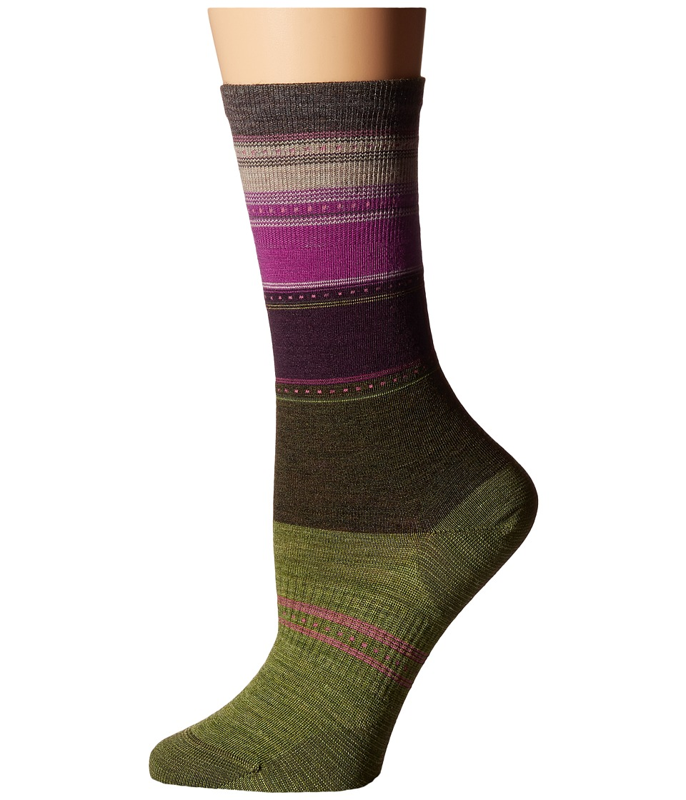 Smartwool - Sulawesi Stripe (Loden Heather) Women's Crew Cut Socks Shoes