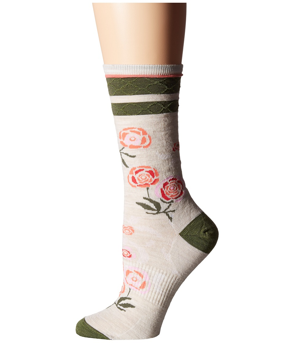 Smartwool - Rosey Posey Crew (Natural Heather) Women's Crew Cut Socks Shoes