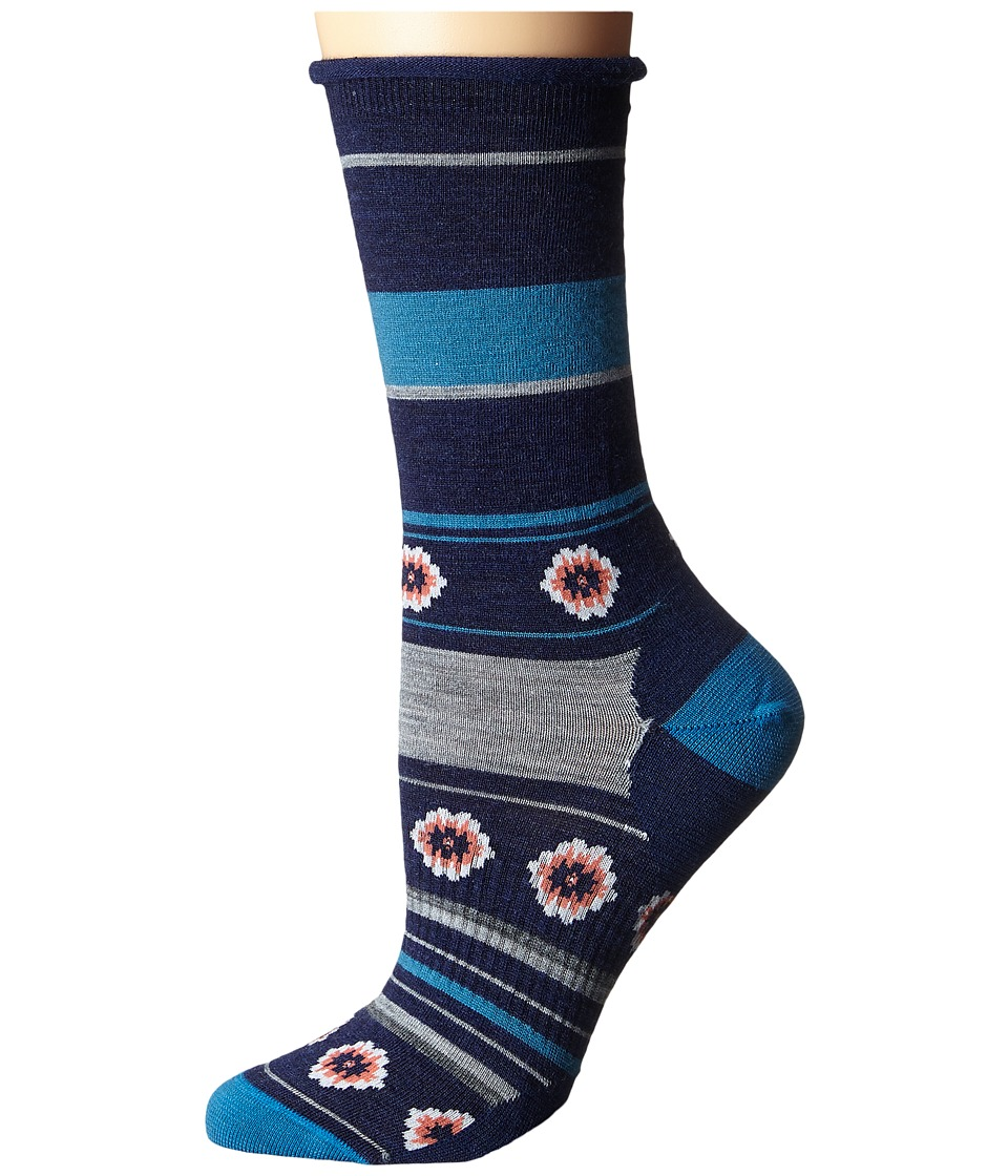 Smartwool - Dazed Dandelion Crew (Glacial Blue Heather) Women's Crew Cut Socks Shoes