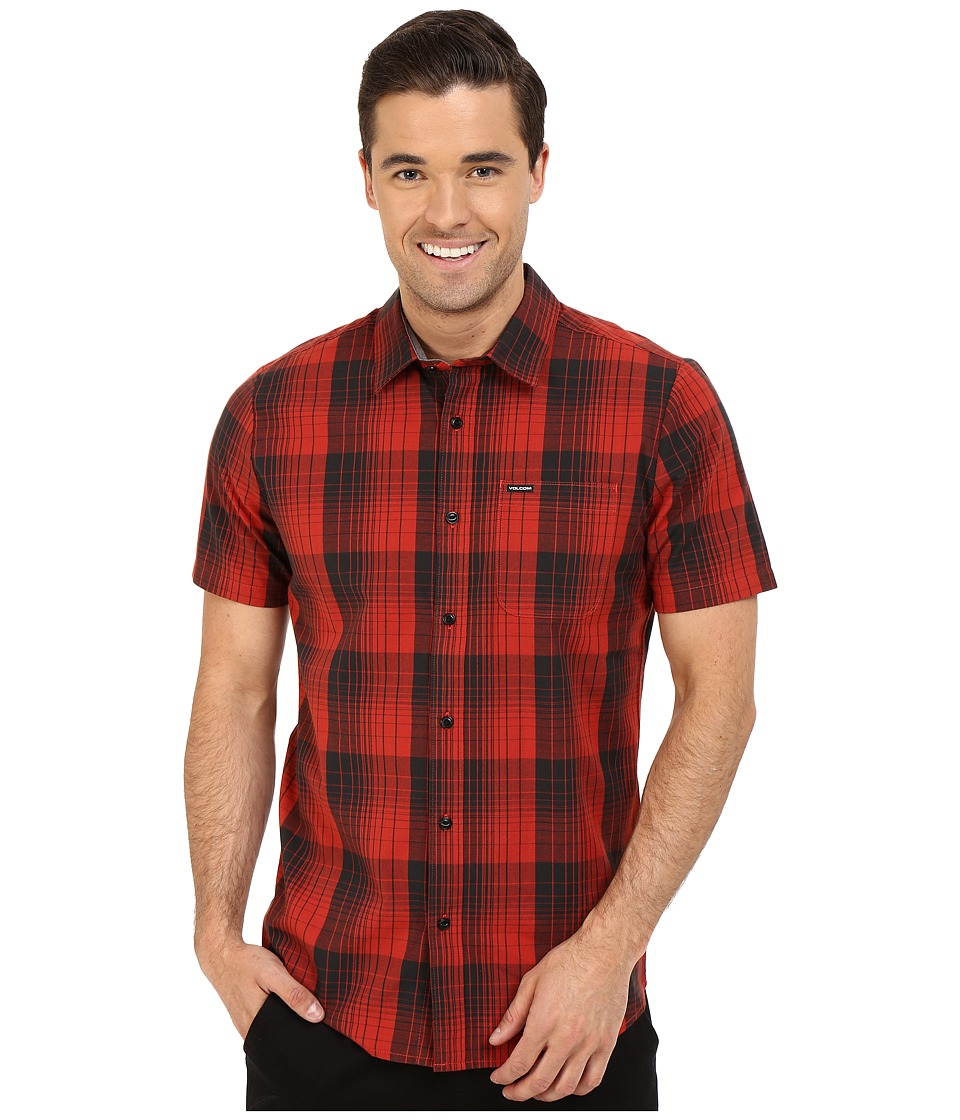 Volcom - Icarus Plaid Short Sleeve Woven (Orange Red) Men's Short Sleeve Button Up