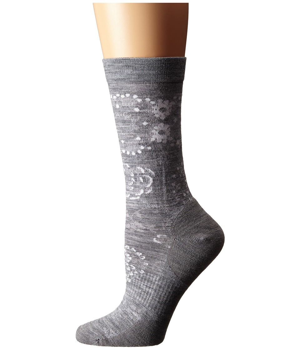 Smartwool - Dahlia Dream Crew (Light Gray Heather) Women's Crew Cut Socks Shoes
