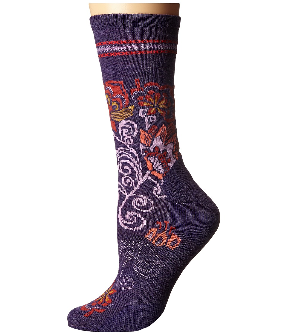 Smartwool - Blooming Botanicals Crew (Mountain Purple Heather) Women's Crew Cut Socks Shoes