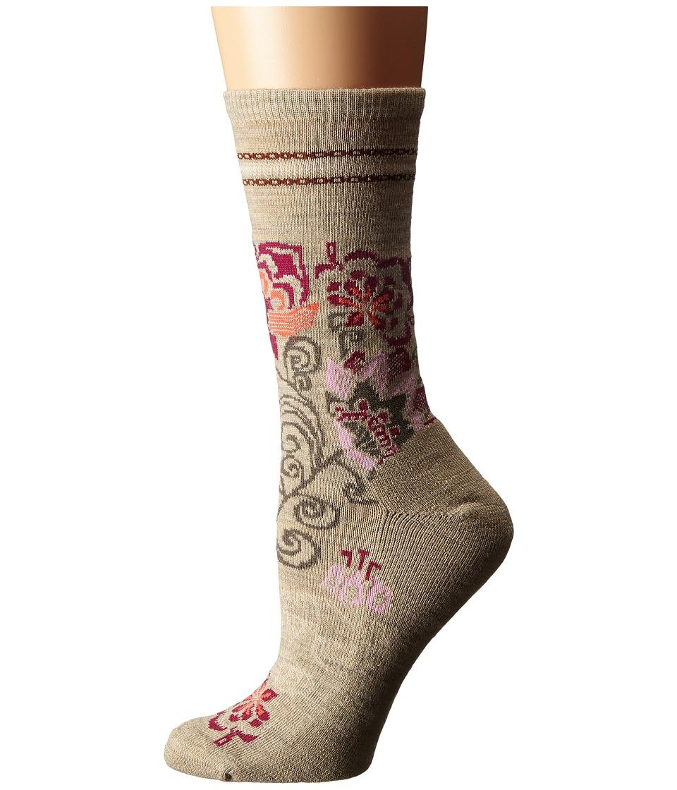 Smartwool - Blooming Botanicals Crew (Oatmeal Heather) Women's Crew Cut Socks Shoes
