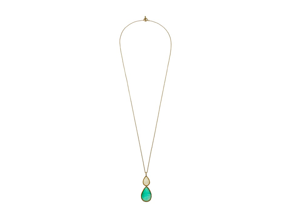 Karen Kane - Sky and Sea Double Teardrop Pendant Necklace (Green) Necklace