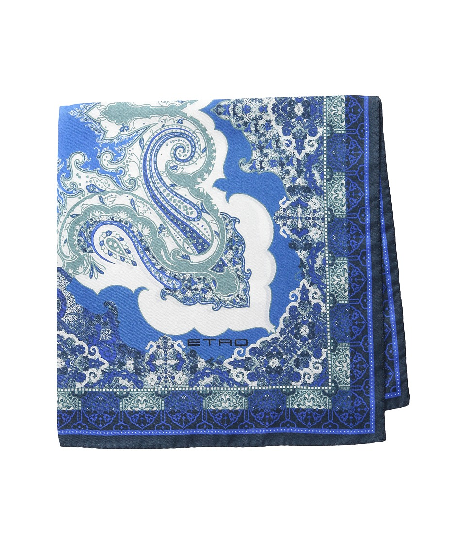 Etro - Printed Silk Pocket Square (Blue Paisley) Ties