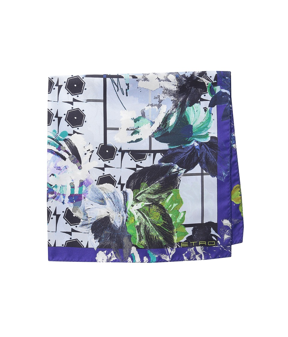 Etro - Floral Silk Pocket Square (Blue Floral) Ties