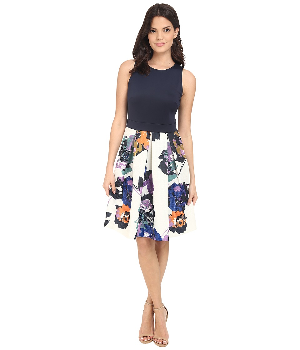Christin Michaels - Isla Sleeveless Pleated Dress (Navy/Multi) Women's Dress