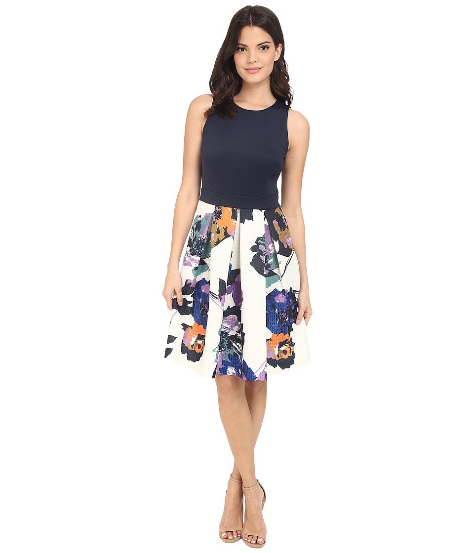 Christin Michaels - Isla Sleeveless Pleated Dress (Navy/Multi) Women's Dress
