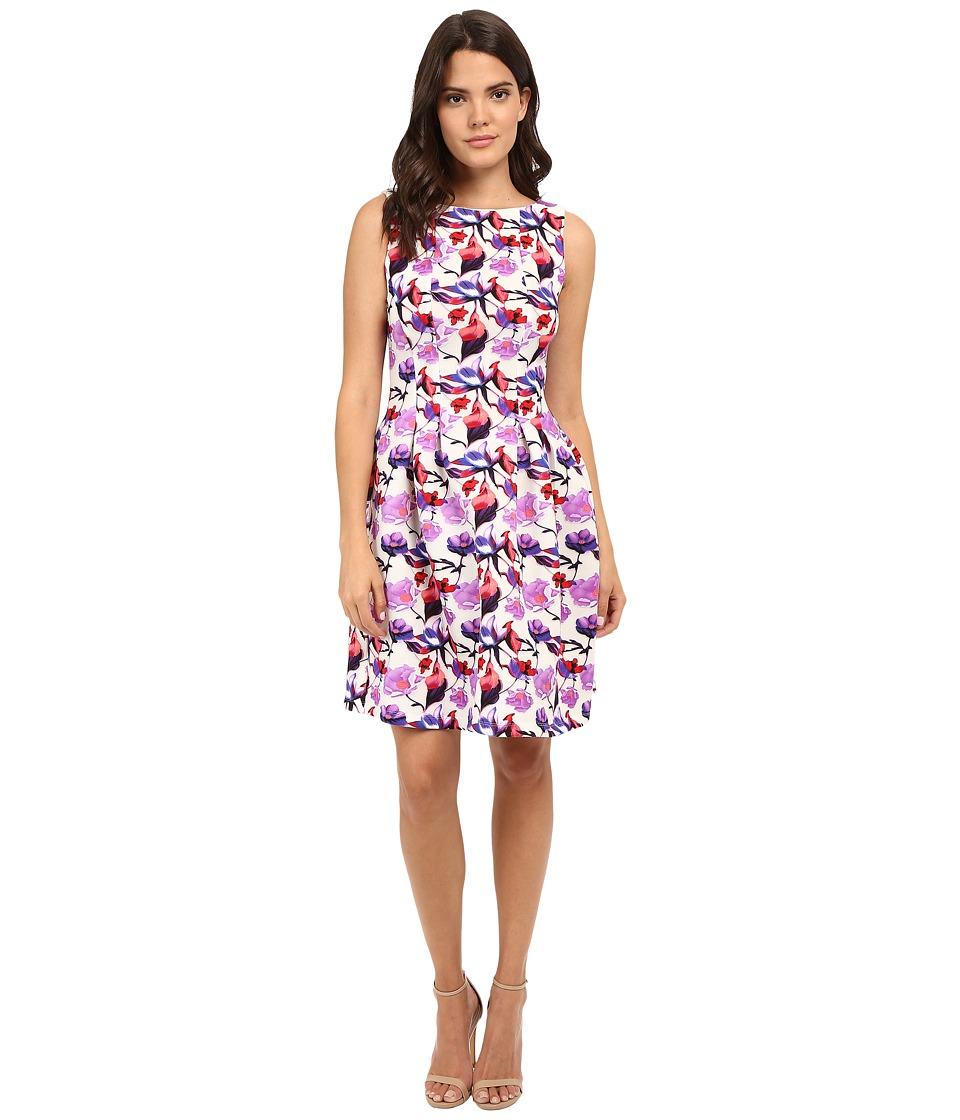 Christin Michaels - Vivienne Floral Dress (Ivory/Purple) Women's Dress