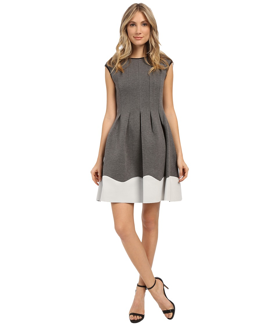 Christin Michaels Giselle Cap Sleeve Flare Dress (Heather Grey) Women