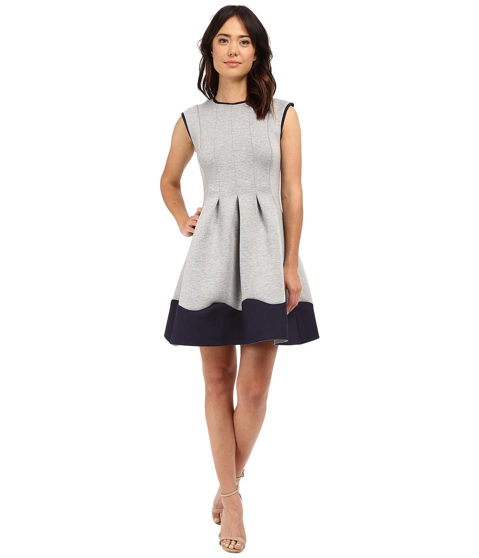 Christin Michaels Giselle Cap Sleeve Flare Dress (Grey/Navy) Women