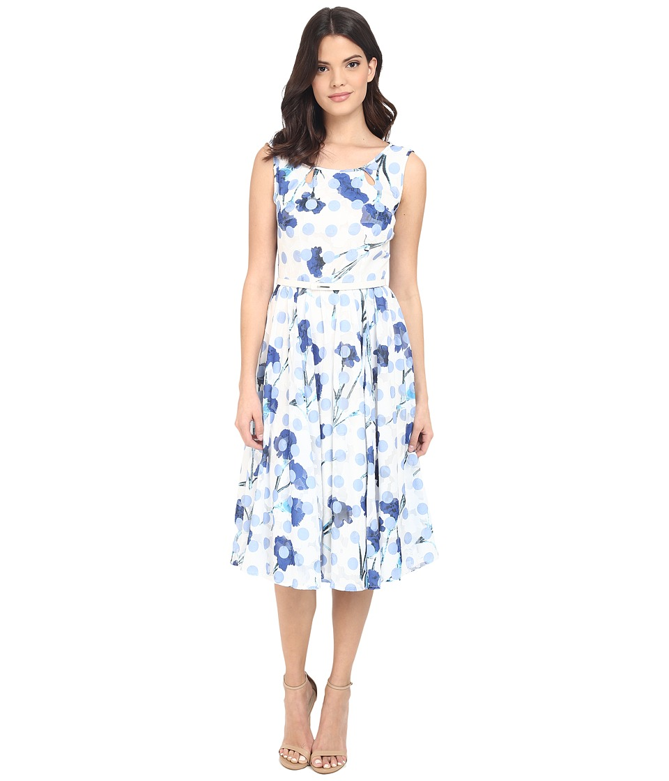 Christin Michaels - Rosalina Polka Dot Dress with Belt (Ivory/Blue) Women's Dress