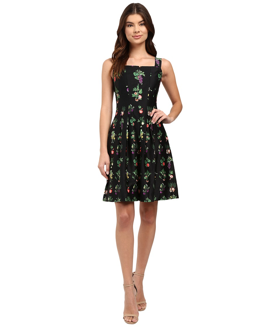 rsvp - Flora Pleated Flare Dress (Black Multi) Women's Dress