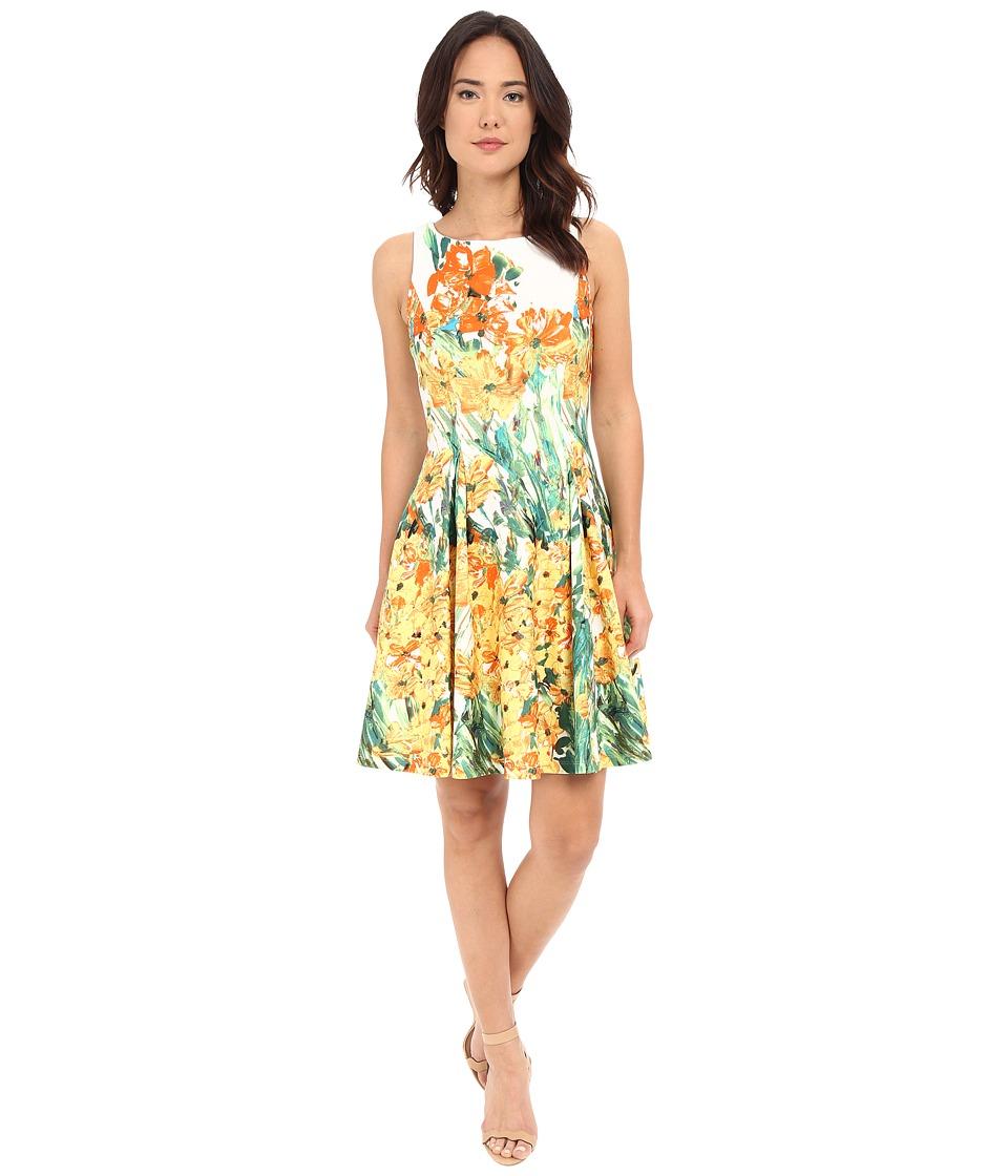 Christin Michaels Anabel Sleeveless Flare Dress (Ivory/Yellow) Women