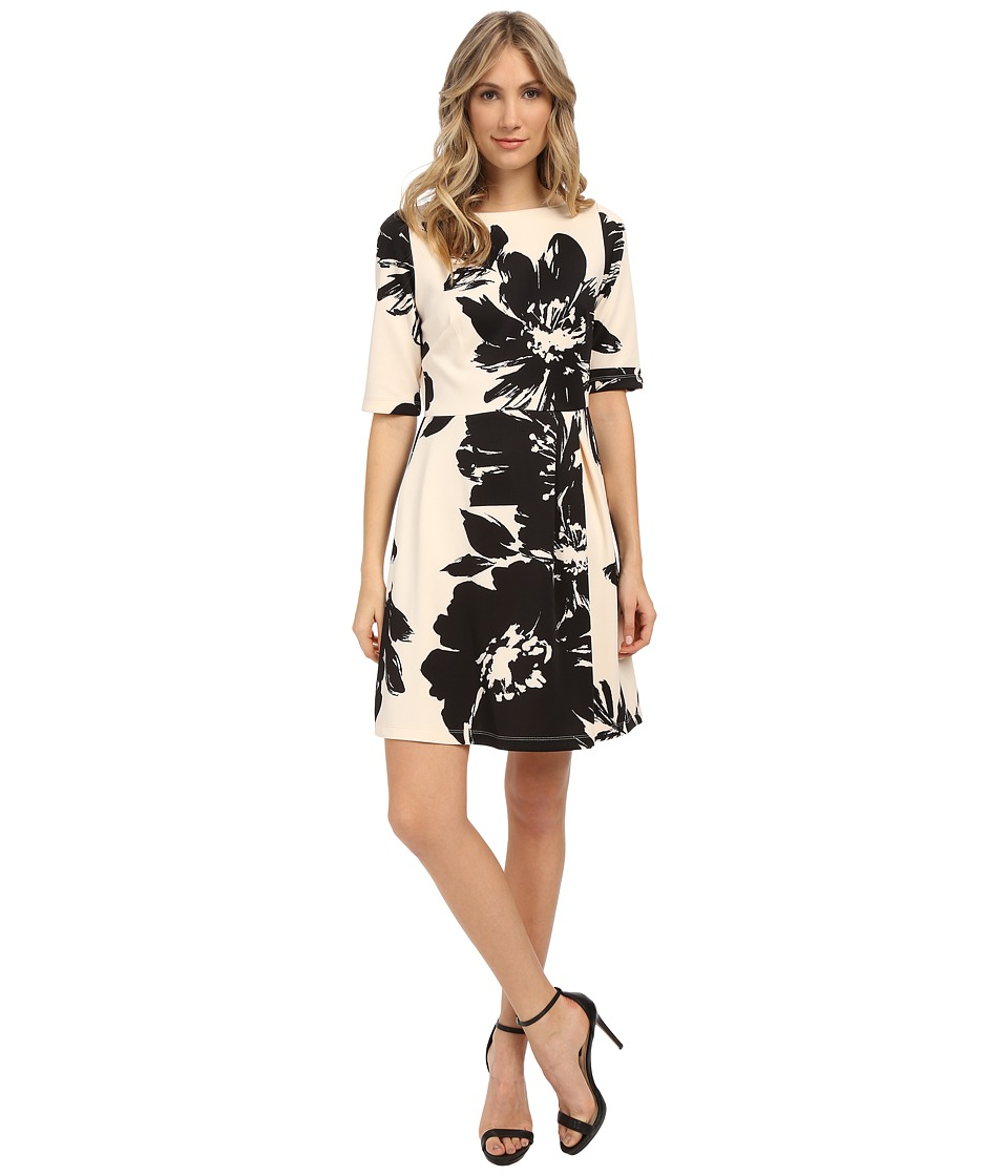 Christin Michaels - Celeste 3/4 Sleeve Flare Dress (Vanilla/Black) Women's Dress