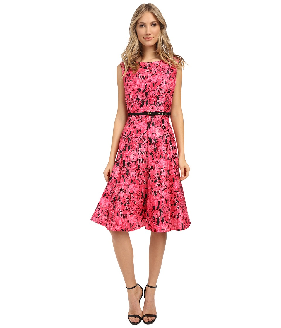Christin Michaels - Ashlyn Off the Shoulder Floral Dress with Belt (Fuchsia/Black) Women's Dress