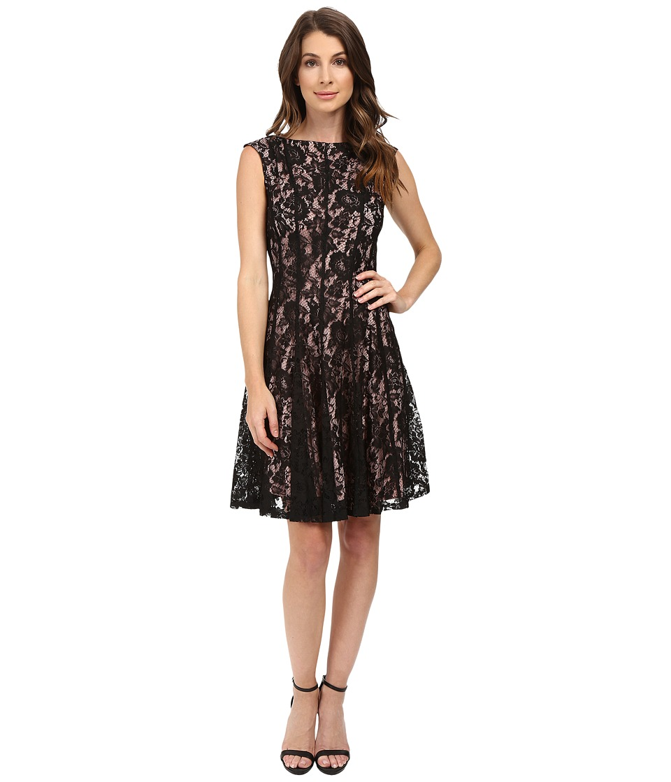 rsvp Arria Cap Sleeve Lace Dress (Black/Nude) Women
