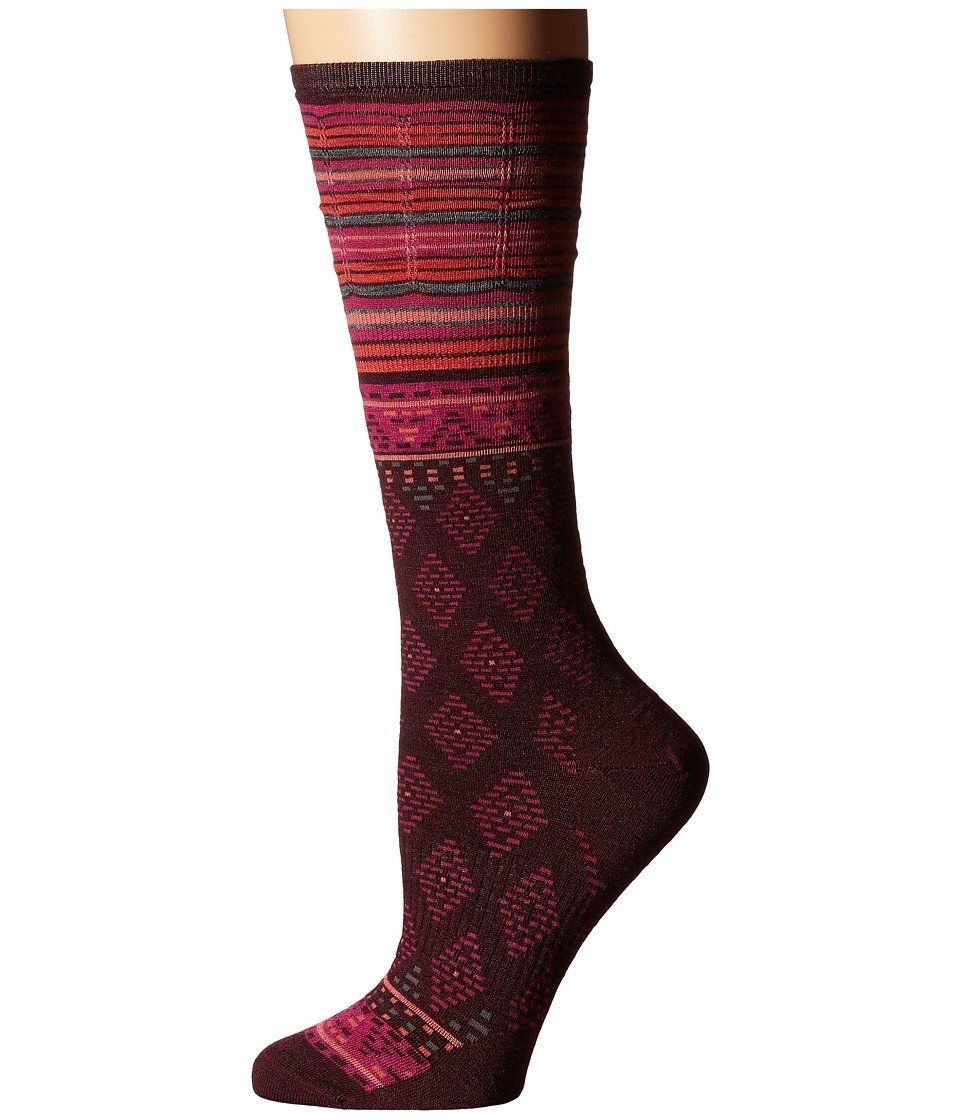Smartwool - Rocking Rhombus Mid Calf (Aubergine Heather) Women's Crew Cut Socks Shoes