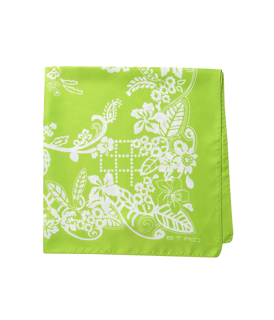 Etro - Printed Silk Pocket Square (Green Print) Ties