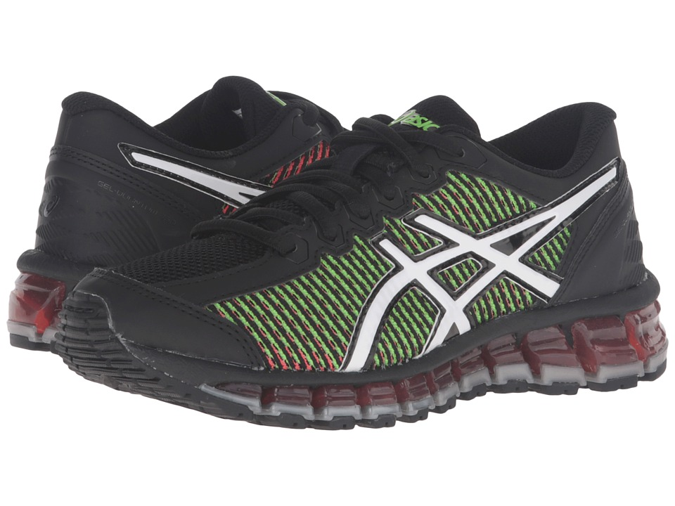 ASICS Kids - Gel-Quantum 360 2 GS (Little Kid/Big Kid) (Black/White/Green Gecko) Boys Shoes