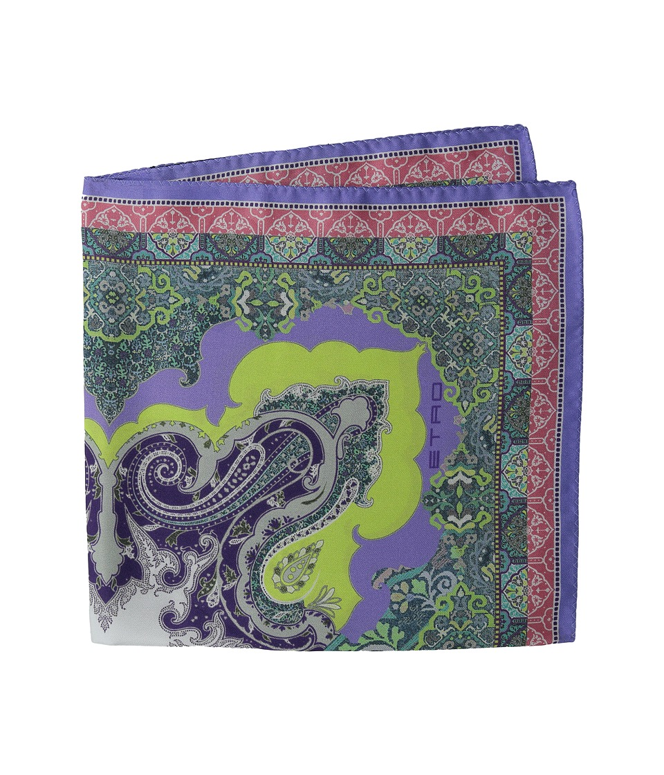 Etro - Printed Silk Pocket Square (Sky Blue Multi) Ties