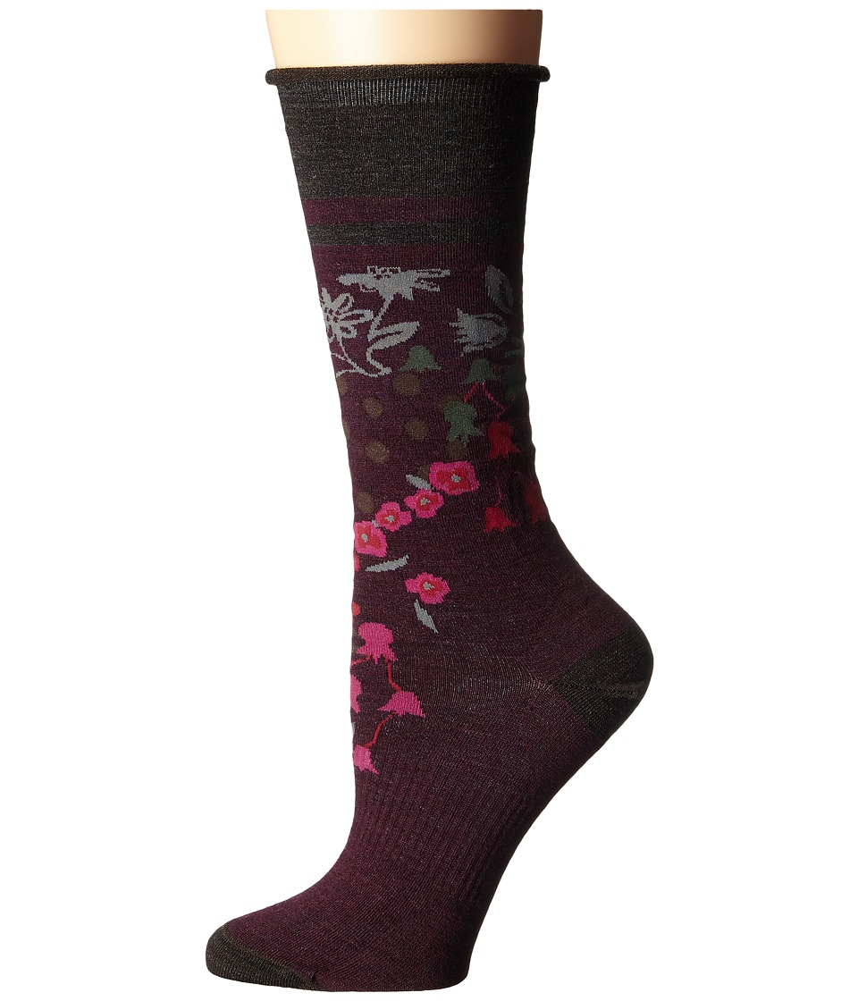 Smartwool - Everlasting Eden Mid Calf (Aubergine Heather) Women's Crew Cut Socks Shoes
