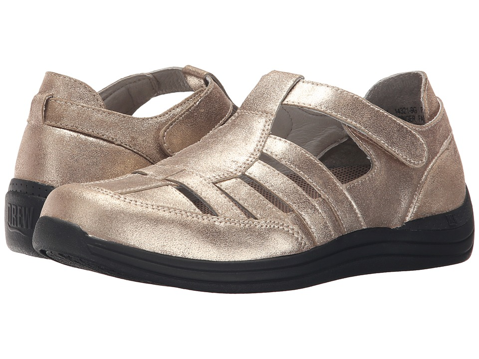 Drew - Ginger (Dusty Gold Leather) Women's Hook and Loop Shoes
