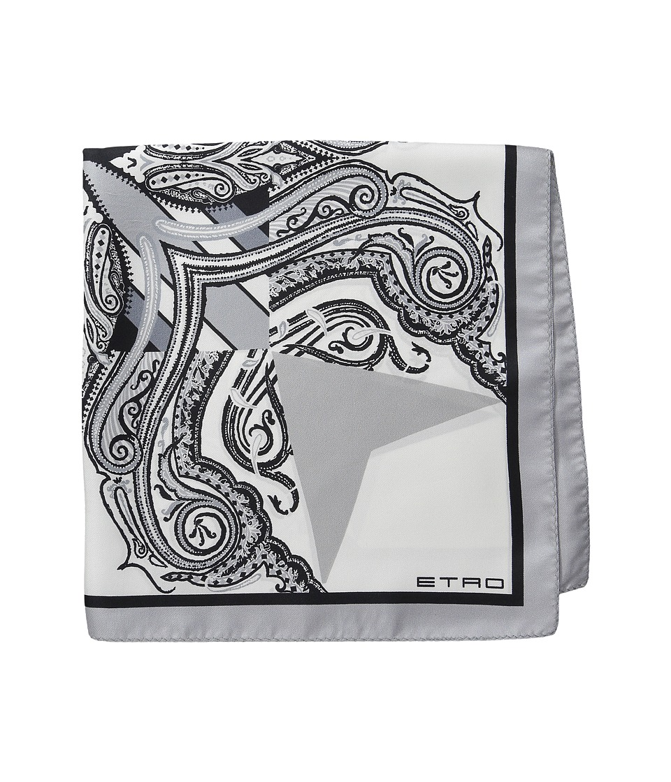 Etro - Printed Silk Pocket Square (Grey Paisley) Ties