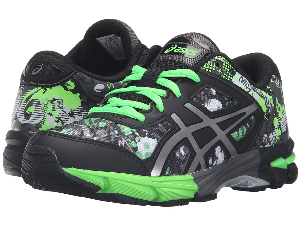 ASICS Kids - Gel-Noosa Tri 11 GS (Little Kid/Big Kid) (Carbon/Silver/Green Gecko) Boys Shoes
