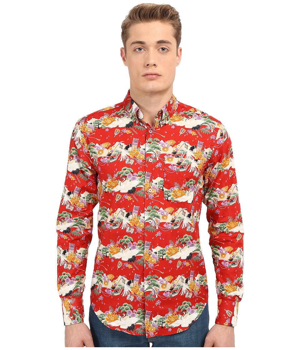 Naked & Famous - Regular Japanese Festival Shirt (Print Red) Men's Clothing