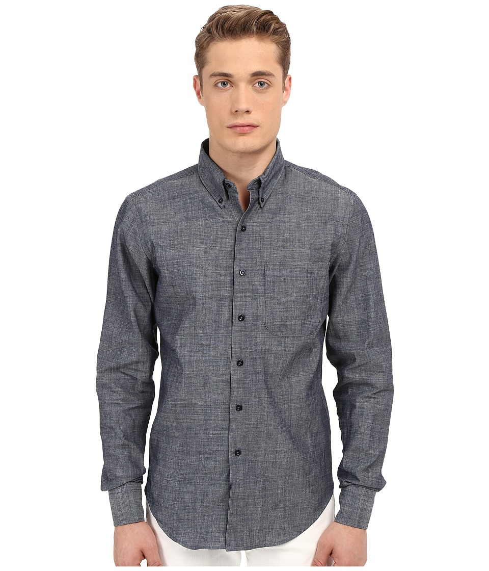 Naked & Famous - Slim Lightweight Chambray Shirt (Chambray) Men's Long Sleeve Button Up