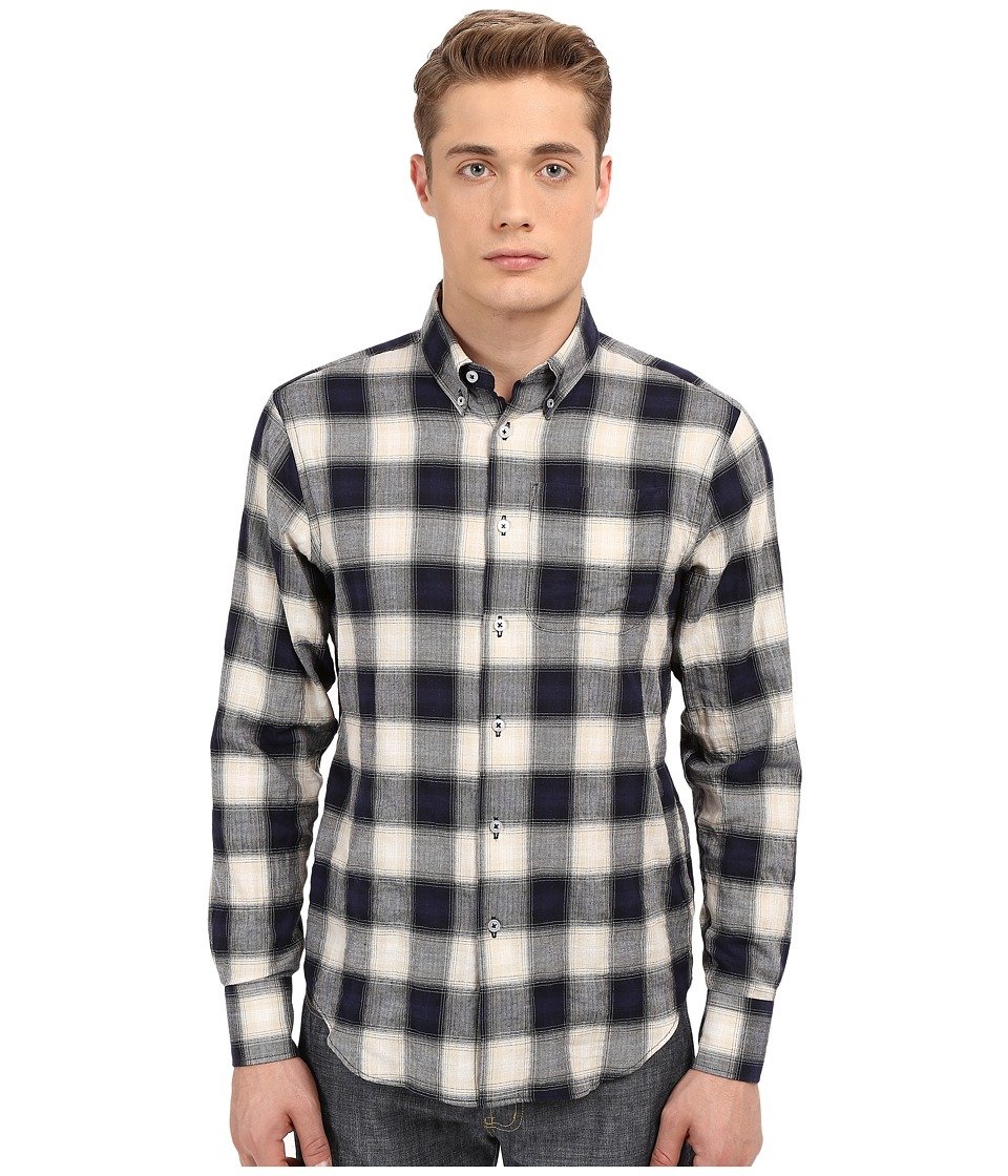 Naked & Famous - Regular Herringbone Ombre Check Shirt (Navy) Men's Long Sleeve Button Up
