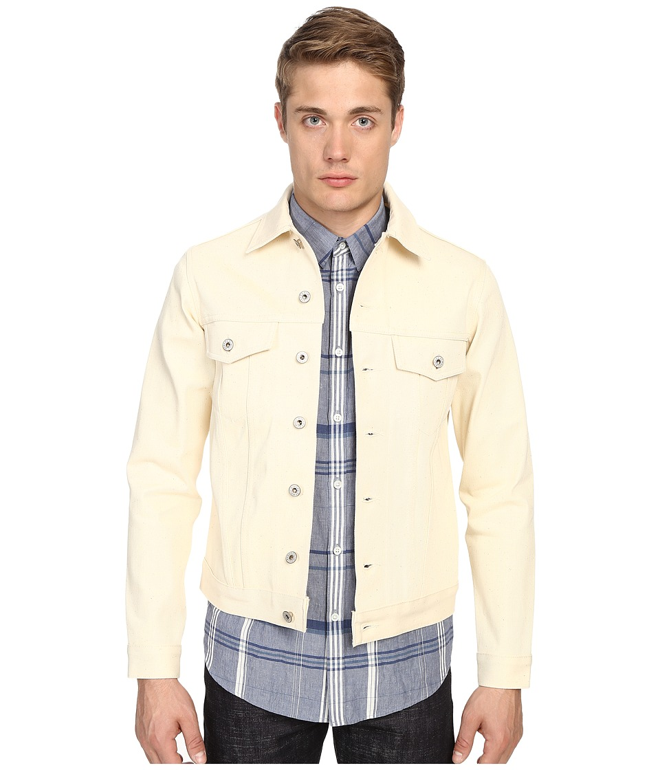 Naked & Famous - Natural with Trash Selvedge Denim Jacket (Natural) Men's Jacket