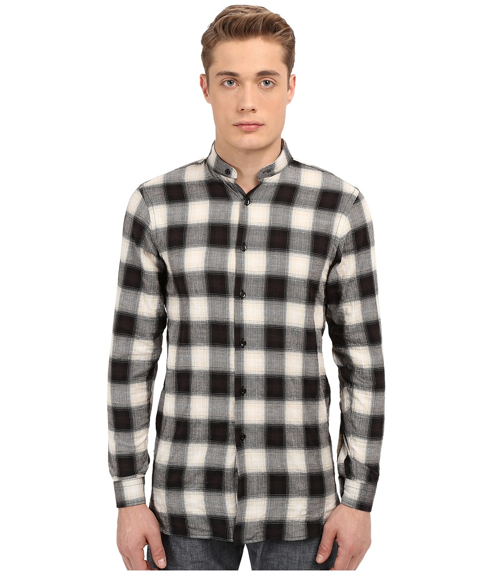 Naked & Famous - Long Fit Herringbone Ombre Check Shirt (Black) Men's Long Sleeve Button Up