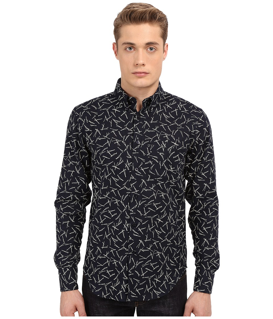 Naked & Famous - Regular Kimono Pine Needles Print Shirt (Print Black) Men's Long Sleeve Button Up