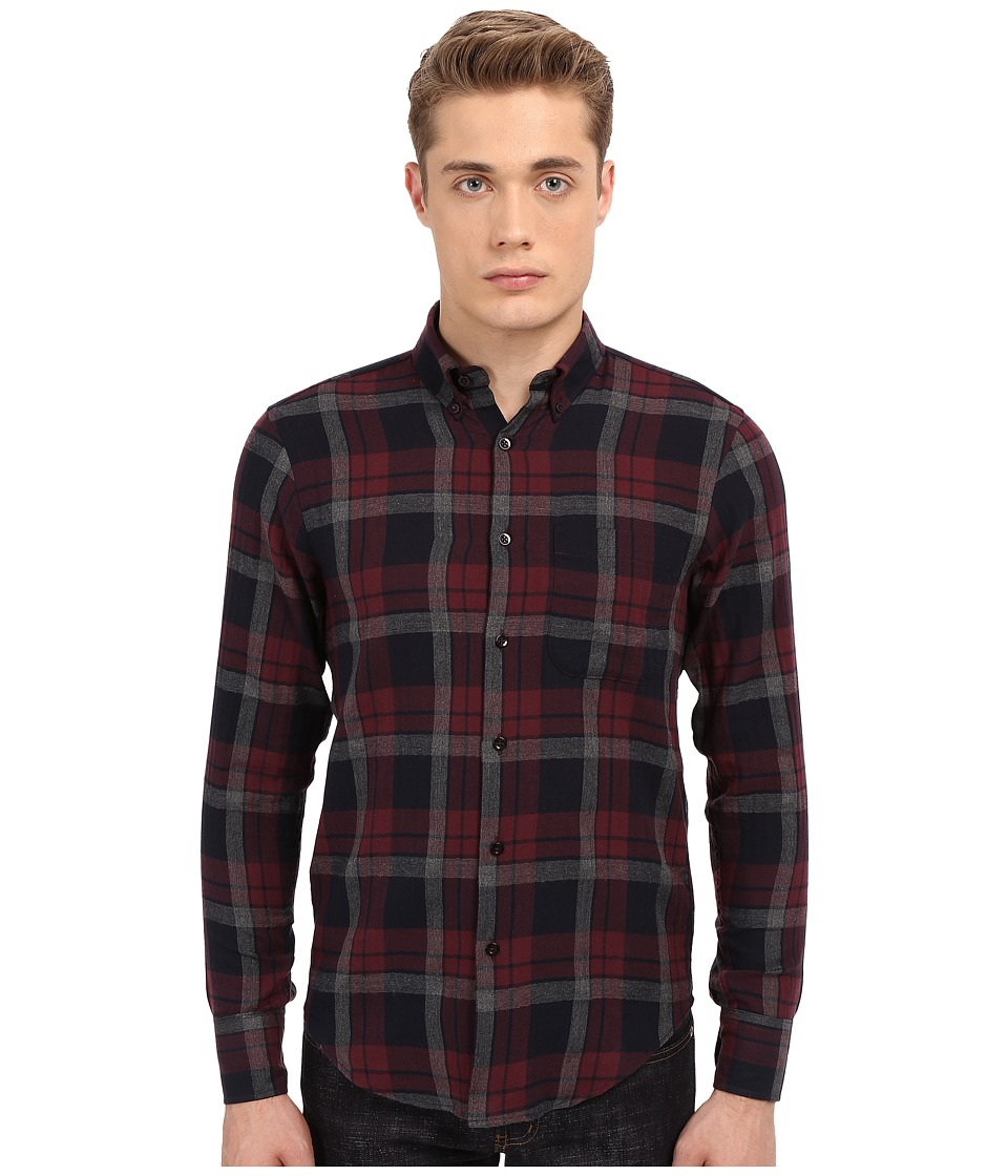 Naked & Famous - Regular Herringbone Soft Check Shirt (Red/Navy) Men's Clothing
