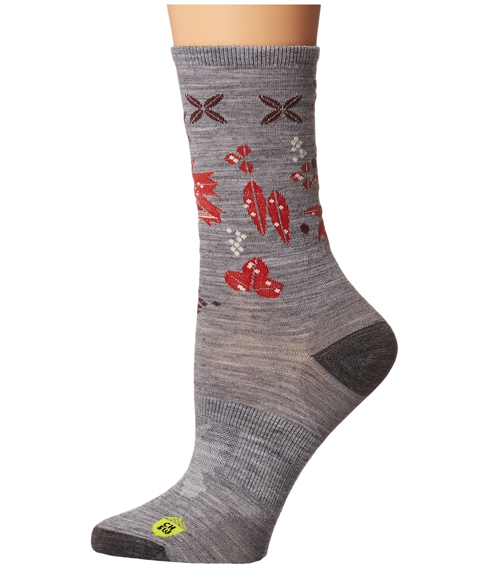 Smartwool - Charley Harper Glacial Bay Finch Crew (Light Gray Heather) Women's Crew Cut Socks Shoes