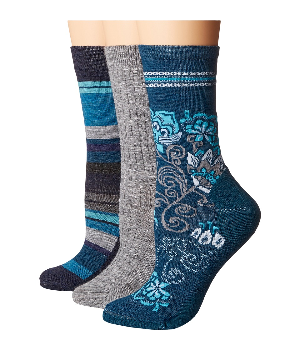 Smartwool - Trio 4 (Deep Sea) Women's Crew Cut Socks Shoes