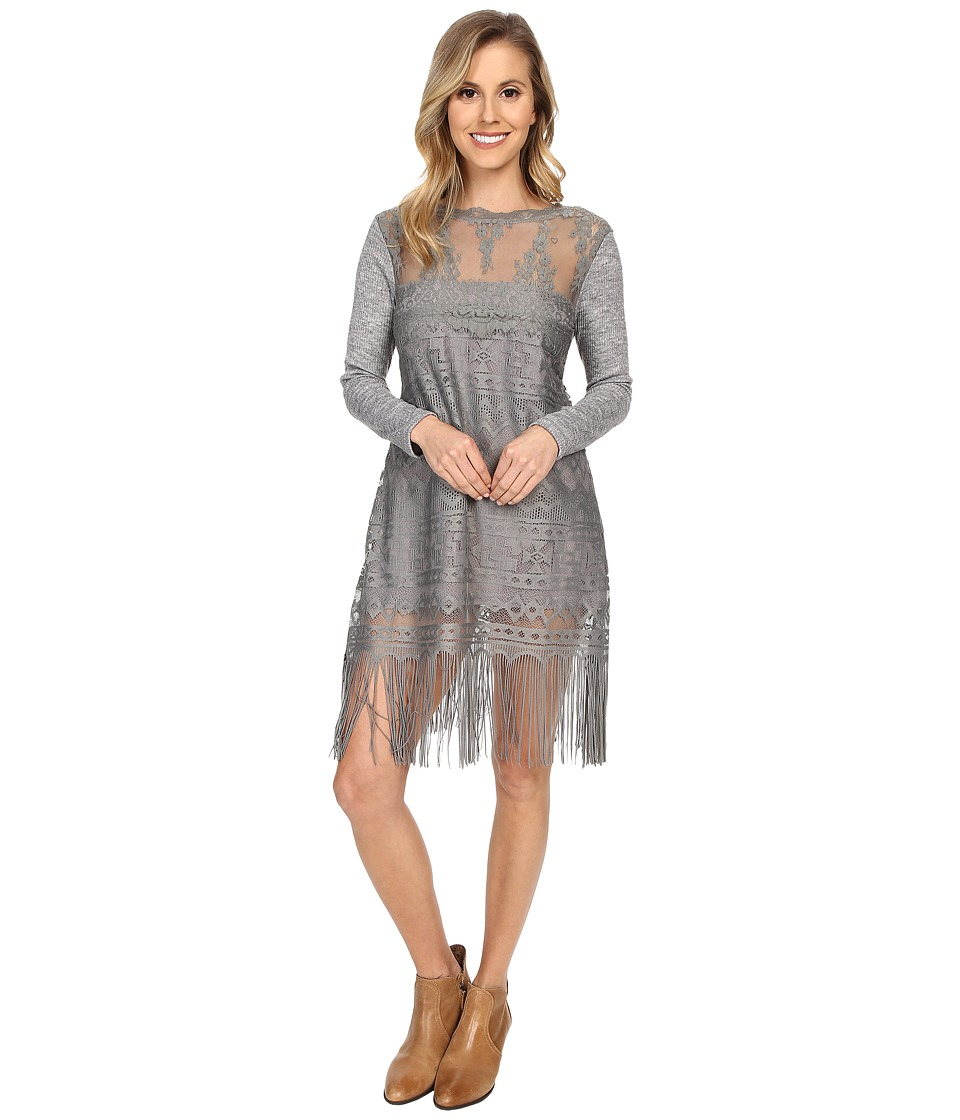 Scully - Show Stopper Fringe Dress (Gray) Women's Dress