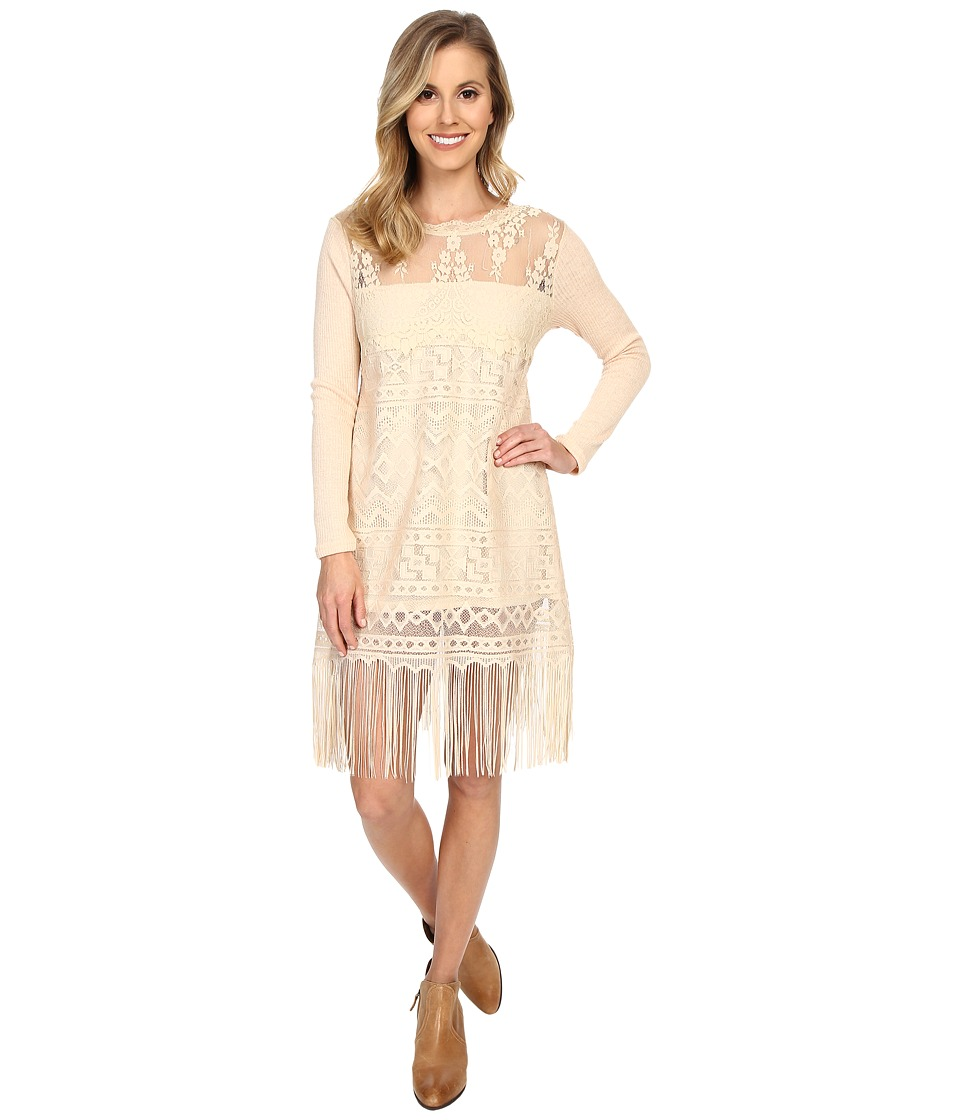 Scully - Show Stopper Fringe Dress (Natural) Women's Dress