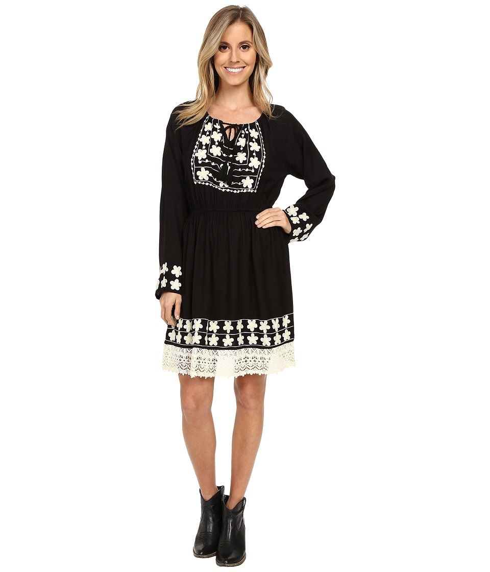 Scully - Ebony Embroidery and Lace Trim Dress (Black) Women's Dress