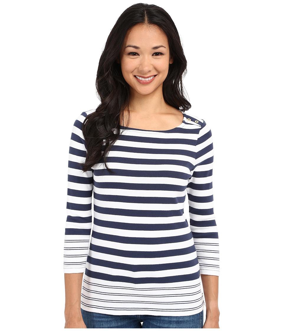 Pendleton - Petite Corina Stripe Rib Tee (Indigo/White) Women's Long Sleeve Pullover