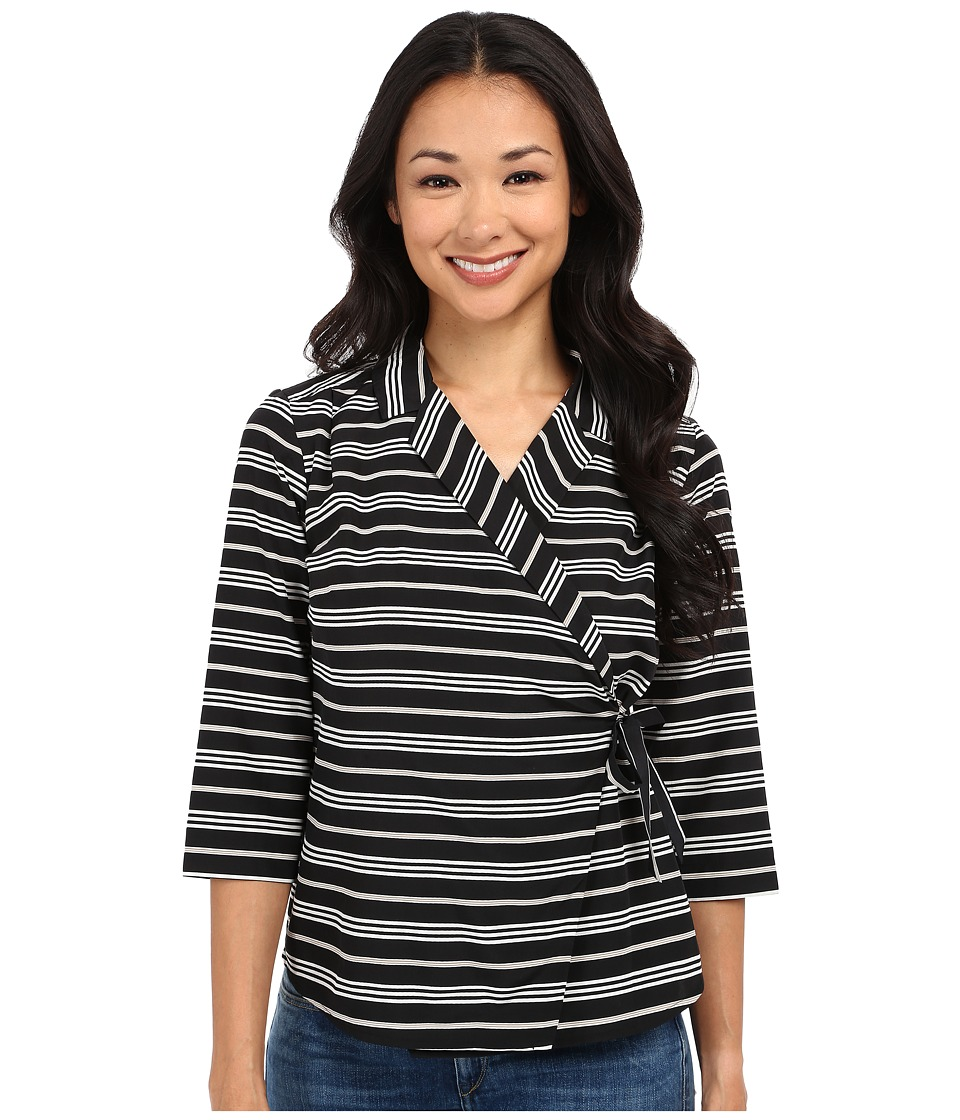 Pendleton - Petite Wrap Shirt (Black Stripe Print) Women's Blouse