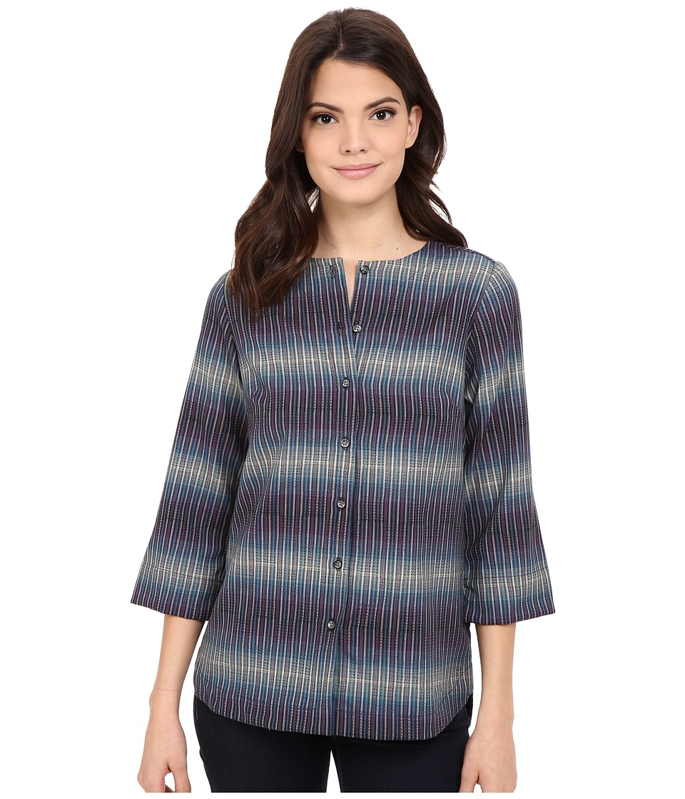 Pendleton - Petite Kira Shirt (Navy Multi Stripe) Women's Clothing