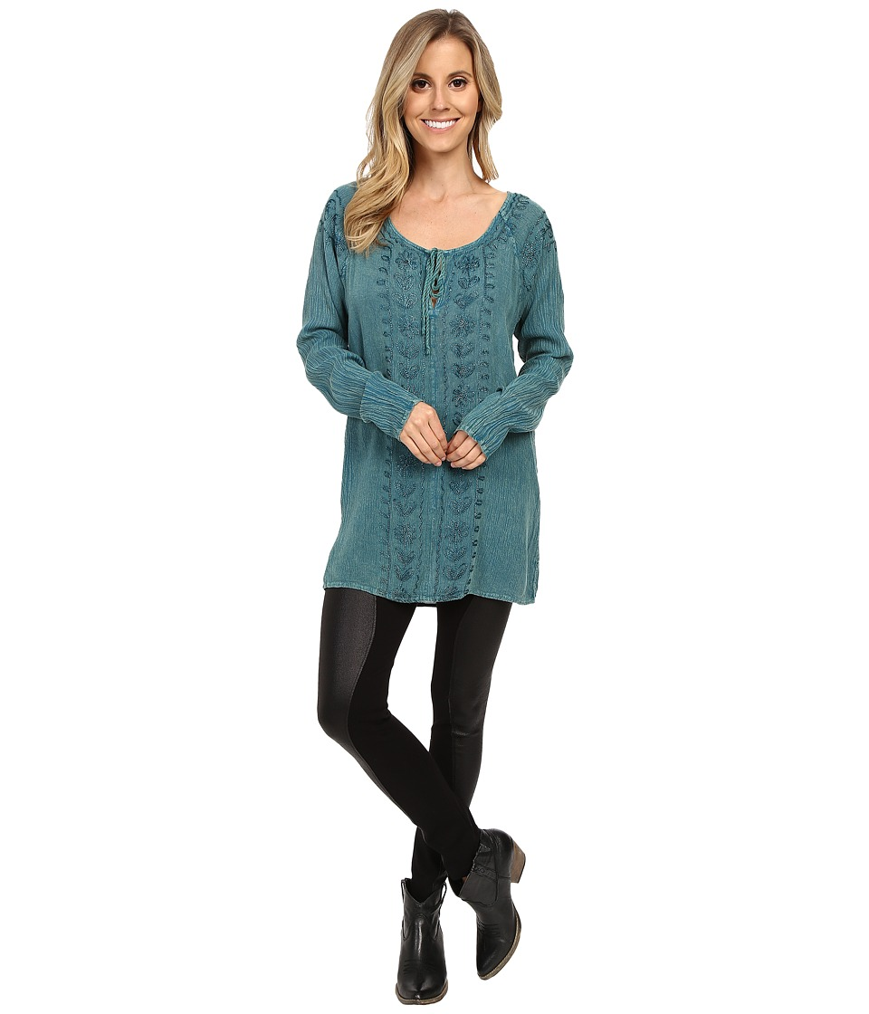 Scully - Gaia Embroidered Tunic (Teal) Women's Blouse
