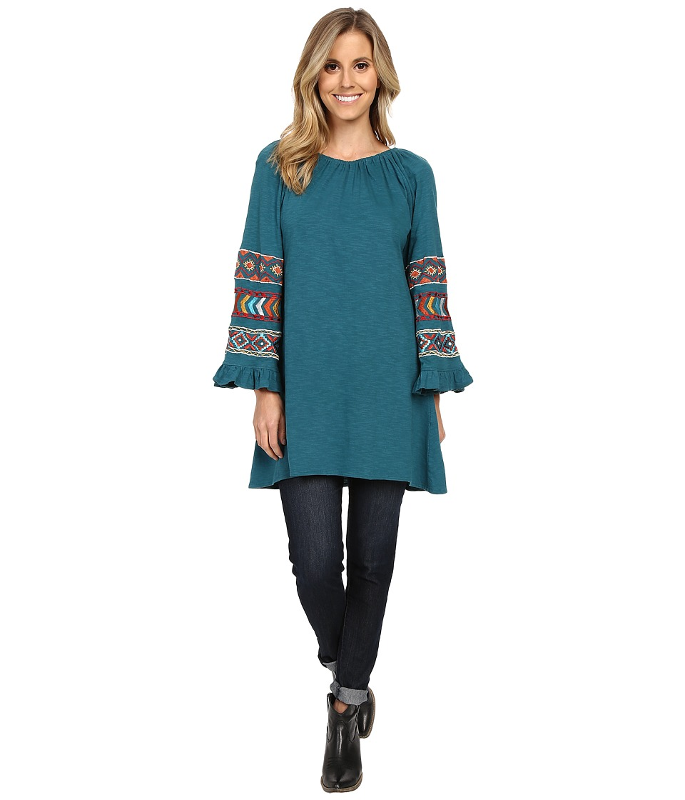 Scully - Caily Embroidered Bell Sleeve Tunic (Teal) Women's Blouse