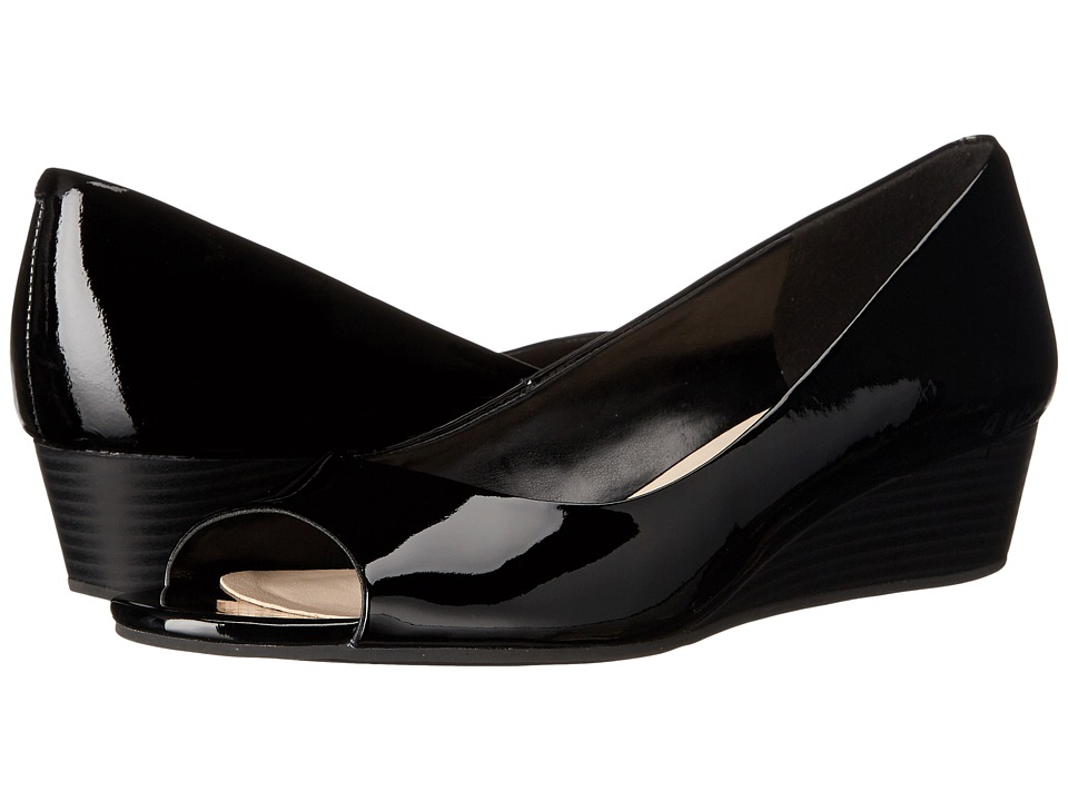 Cole Haan - Elsie Open Toe Wedge II (Black Patent) Women