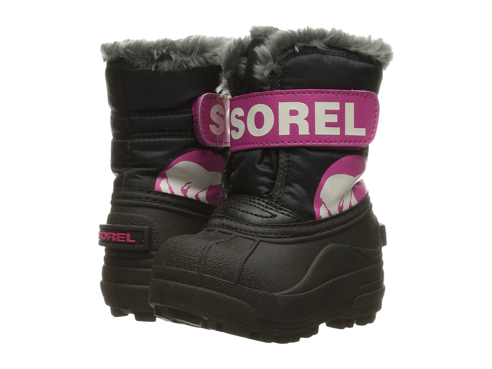 SOREL Kids - Snow Commander (Toddler) (Black/Haute Pink) Girls Shoes